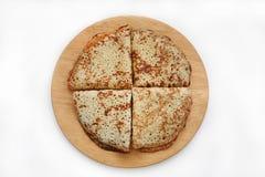 Pancake sul bordo di legno Fotografie Stock