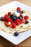 Pancake with summer fruits Royalty Free Stock Photo