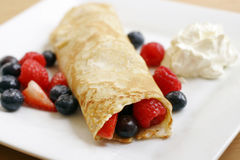 Pancake with summer fruits Stock Photography