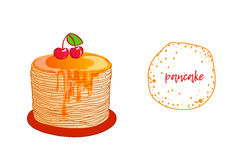 Pancake is a symbol of Russian holiday Maslenitsa,. Russian holiday Maslenitsa. Pancake is a symbol of Shrovetide, isolated on white. Russian blini with honey Royalty Free Stock Image