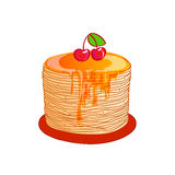 Pancake is a symbol of Russian holiday Maslenitsa, Royalty Free Stock Photography