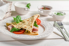 Pancake with vegetables and ham Royalty Free Stock Photo