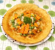Pancake with vegetables Royalty Free Stock Photos