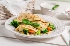 Pancake with vegetables and three sauces Royalty Free Stock Image