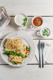 Pancake with vegetables and three sauces Stock Photos