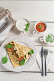 Pancake with vegetables and three sauces Royalty Free Stock Photography