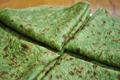 Pancake verdi con spinaci Fotografia Stock Libera da Diritti