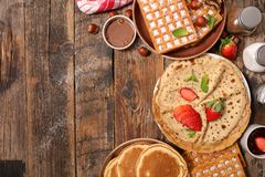 Pancake, waffle and crepe royalty free stock photos