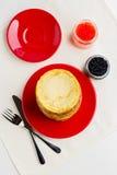 Pancake week. Pancakes with red and black caviar. royalty free stock photos