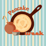 Pancake week vector with caviar Royalty Free Stock Images