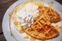Pancake with whipped cream. And Vanilla ice cream Stock Image