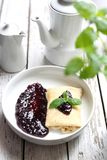 Pancake with white cheese and fruit marmalade. Appetite dish. Homemade sweet pancakes, served with cheese stuffing and sweet fruit jam stock photography
