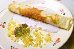 Pancake with yogurt sauce Stock Image