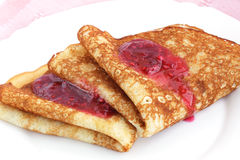 Pancakes. With raspberry jam/ the breakfast of the house Stock Photography