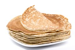 Pancakes. Plate with a bunch of pancakes stock images