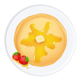 Pancakes. With Oil, Honey And Strawberry,  Isolated On White Background, Vector Illustration Royalty Free Stock Photos
