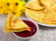 Pancakes. Served with raspberry jam stock photography