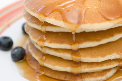 Pancakes. Freshly prepared pancakes with bluberries on the side Stock Photos