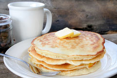 Pancakes. Stack of buttermilk pancakes with butter on the top Royalty Free Stock Photo