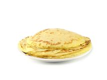 Pancakes. On a plate isolated on white background Stock Image
