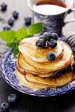 Pancakes with addition of fresh blueberries Stock Image