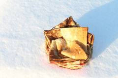 Pancakes against snow Royalty Free Stock Photography
