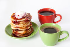 Pancakes And Coffee For Breakfast Royalty Free Stock Photography