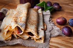 Free Pancakes And Fresh Plum Jam Royalty Free Stock Images - 77212369