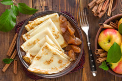 Pancakes with apples Royalty Free Stock Images