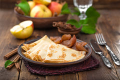 Pancakes with apples Royalty Free Stock Photography