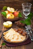 Pancakes with apples Stock Images