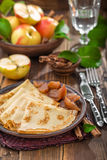 Pancakes with apples Stock Photography