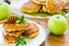 Pancakes with apples and honey Stock Photography