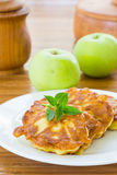 Pancakes with apples Royalty Free Stock Image