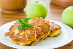 Pancakes with apples Stock Image