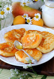Pancakes with apricot inside. Royalty Free Stock Photos