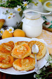Pancakes with apricot inside. Royalty Free Stock Photography