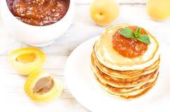 Pancakes with apricot jam Stock Photo