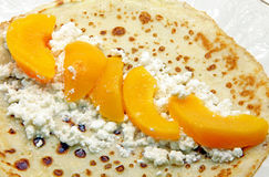 Pancakes with apricots Royalty Free Stock Image