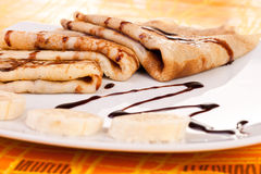 Pancakes and banaba rings Stock Photography