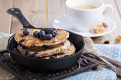 Pancakes with banana and blueberries Royalty Free Stock Images