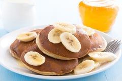 Pancakes with banana Royalty Free Stock Image