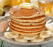 Pancakes with banana Stock Images