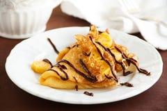 Pancakes with bananas Stock Photo