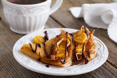 Pancakes with bananas Royalty Free Stock Photo
