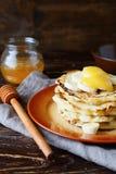 Pancakes with bananas. Food closeup Stock Images