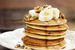 Pancakes with Bananas and Waluts Stock Image