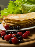 Pancakes with berries Stock Image
