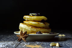 Pancakes with berries on a black background Royalty Free Stock Photography