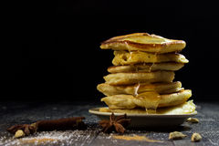 Pancakes with berries on a black background Royalty Free Stock Photo